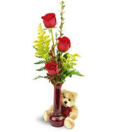 Rose Trio™ with Plush Bear