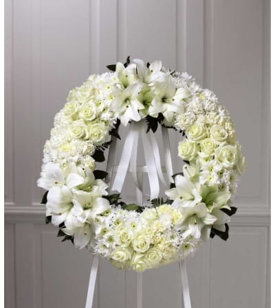 The FTD® Wreath of Remembrance™ in White