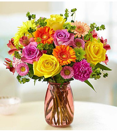 Confetti Bouquet™ in a Pink Vase