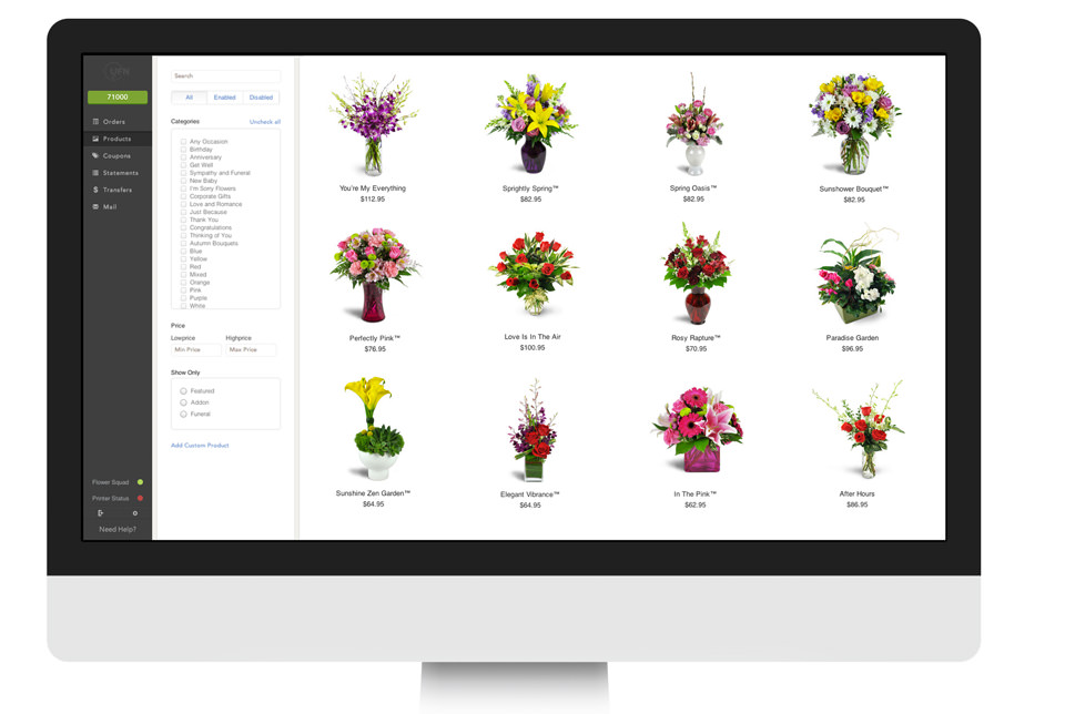 United Florist Network, Custom Products