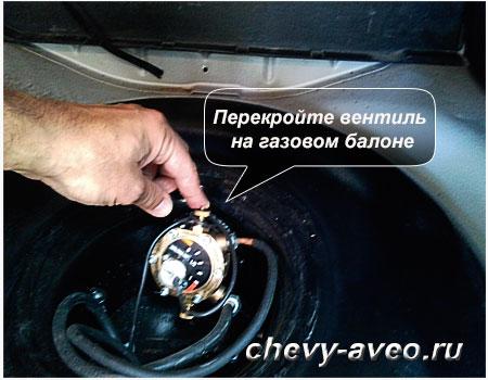 Перекройте газовый вентиль