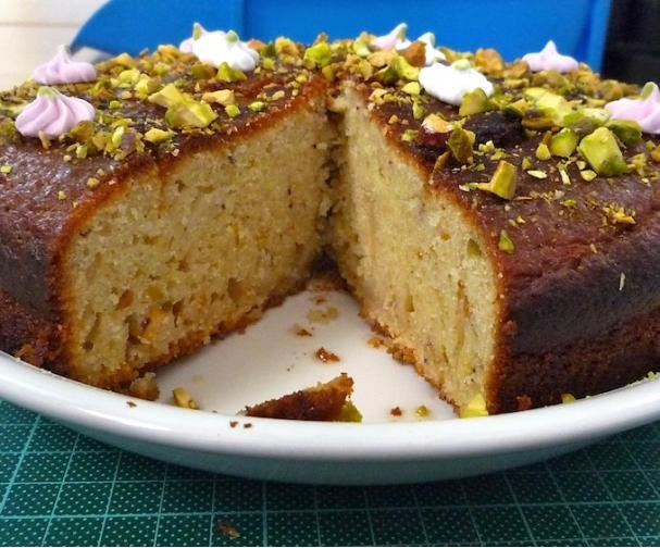 lime yogurt cake with rosewater and pistachios good food