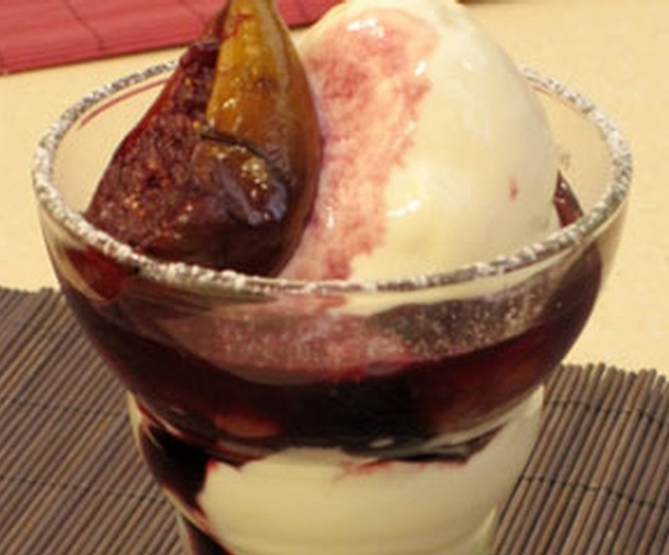 Goats cheese ice cream with wine-poached figs   Good Food ...