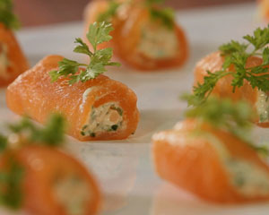 Smoked salmon and cr me fraiche roulade good food channel for Smoked salmon roulade canape