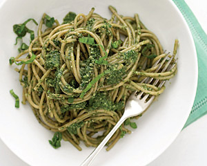 Spaghetti with lighter pesto | Good Food Channel