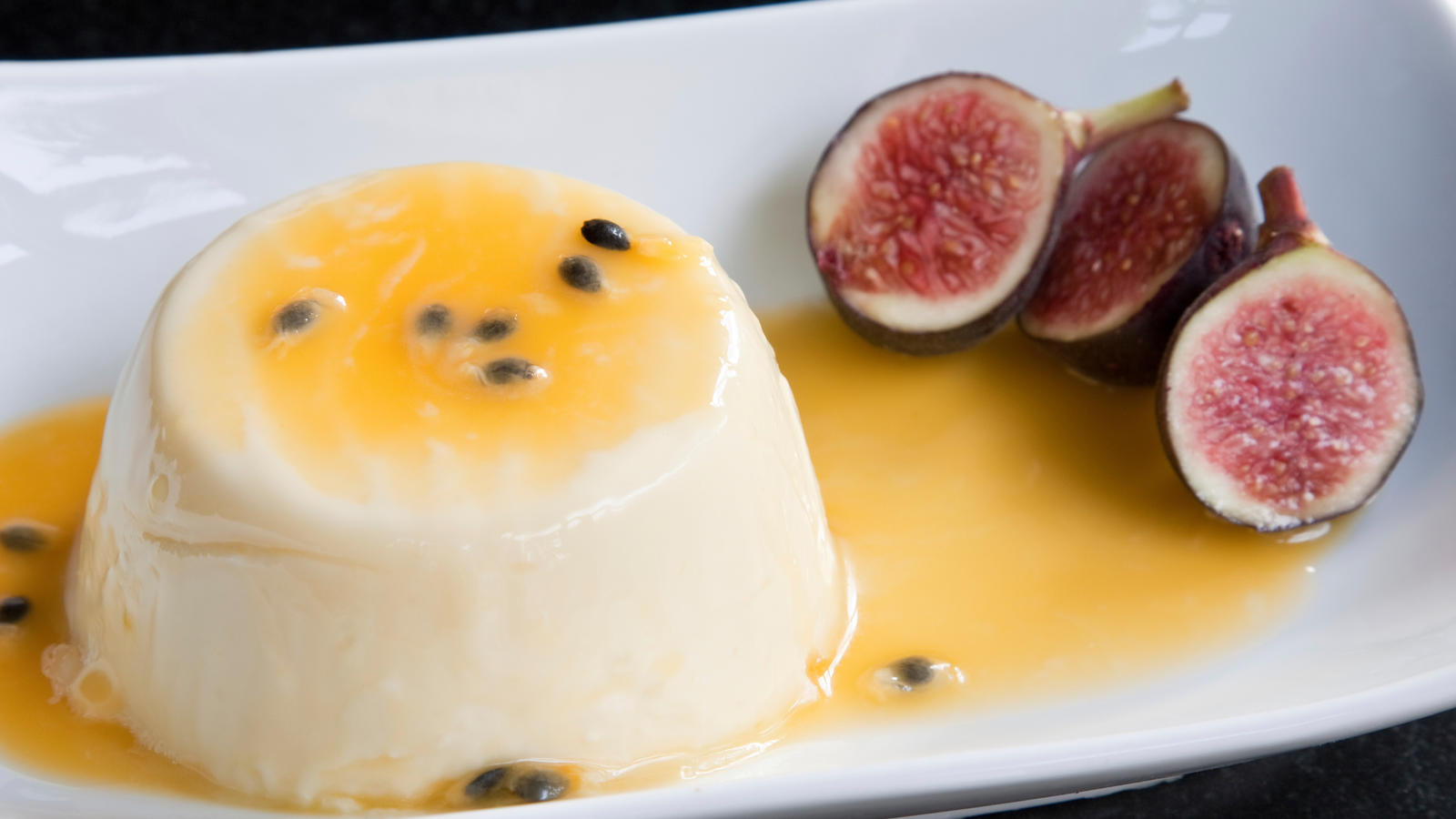 Lavender panna cotta with passion fruit curd | Good Food Channel