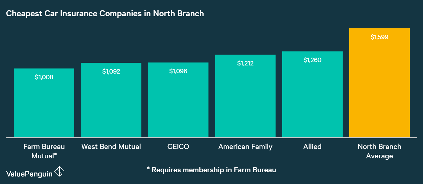 This chart ranks the five cheapest companies in North Branch based on their auto insurance costs