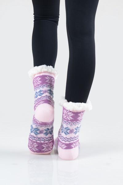 Women/'s Thick Knit Fuzzy Sherpa Lined Soft Slipper Socks Non Slip Skid Warm