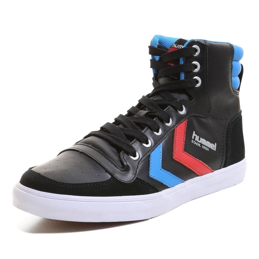 Hummel SLIMMER STADIL HIGH LEATHER Sneaker Herren schwarz-blau-rot