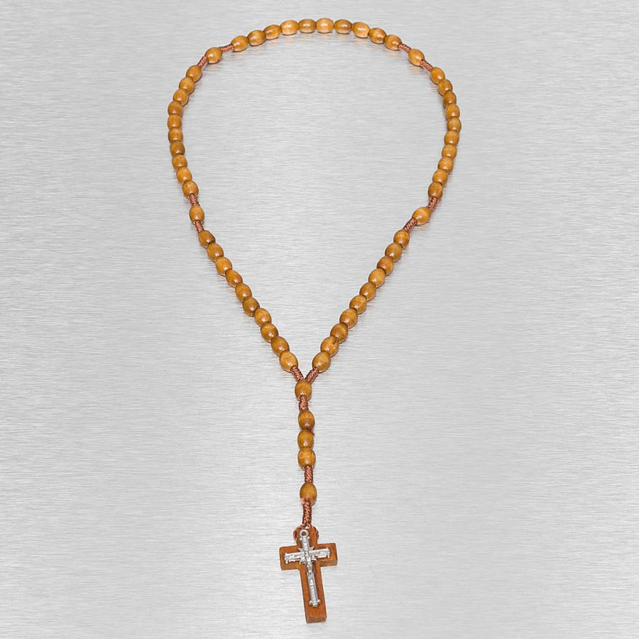 WOOD ROSARY CROSS NECKLACE Ketting Mannen