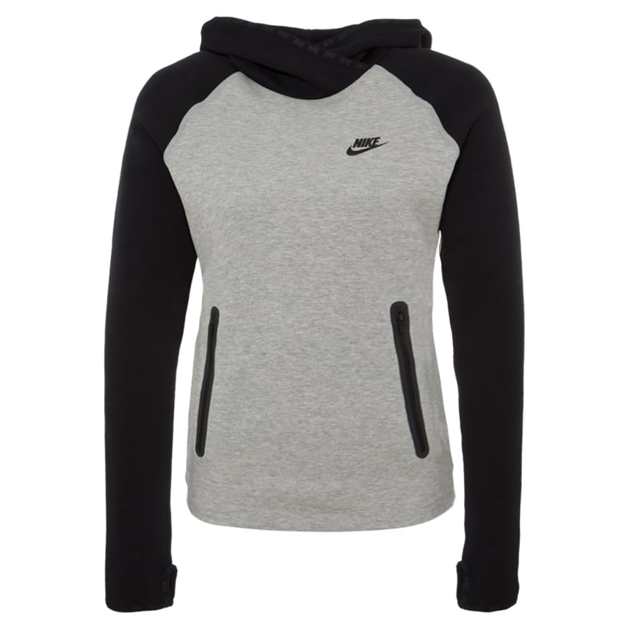 nike tech fleece funnel kapuzenpullover damen grau. Black Bedroom Furniture Sets. Home Design Ideas