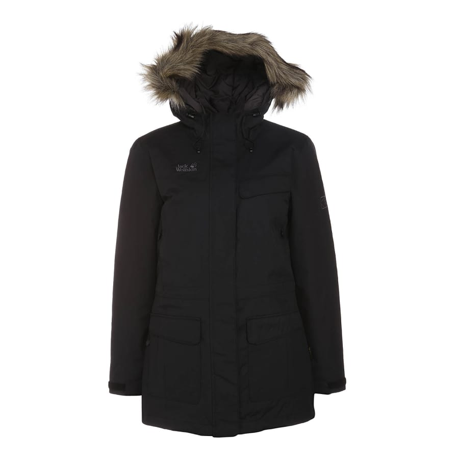 jack wolfskin alberta parka winterparka damen schwarz. Black Bedroom Furniture Sets. Home Design Ideas