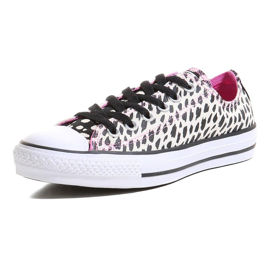 converse chuck taylor all star ox animal print sneaker damen wei schwarz pink vaola. Black Bedroom Furniture Sets. Home Design Ideas