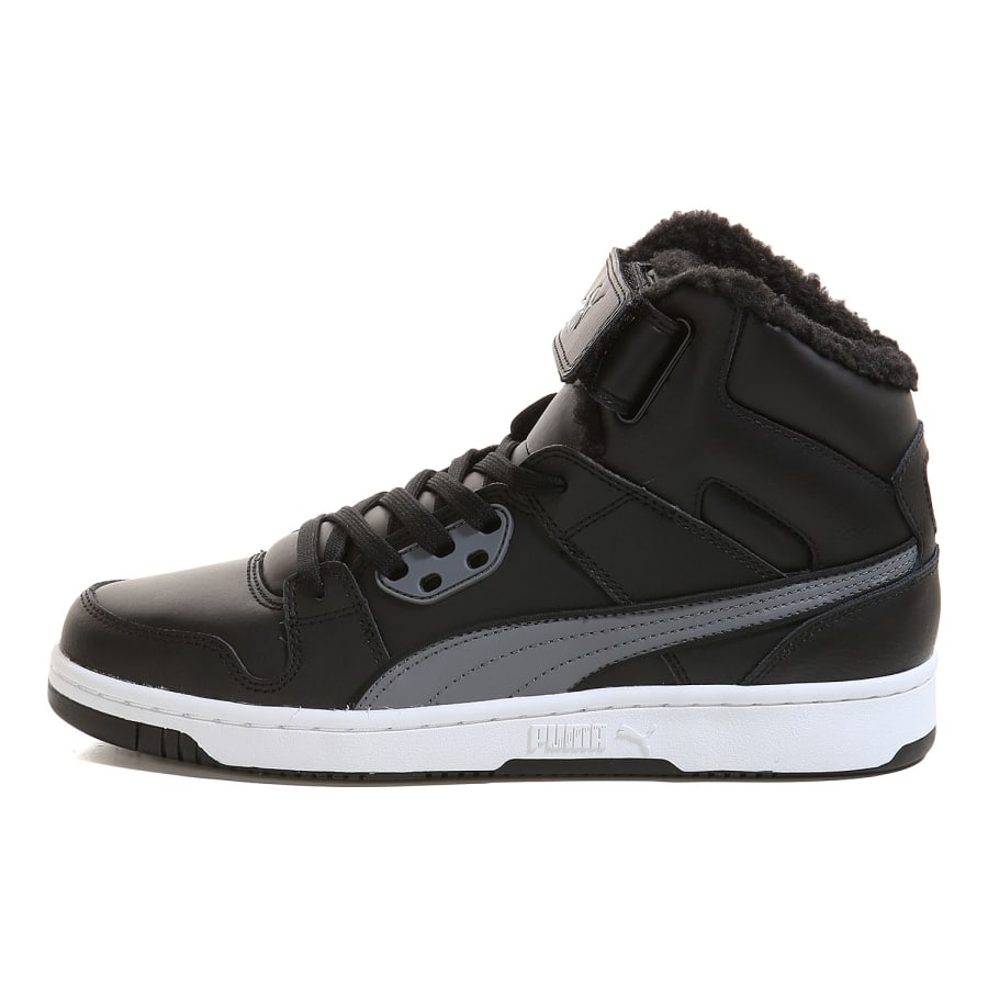 puma rebound street fur high top trainers men black gray vaola. Black Bedroom Furniture Sets. Home Design Ideas