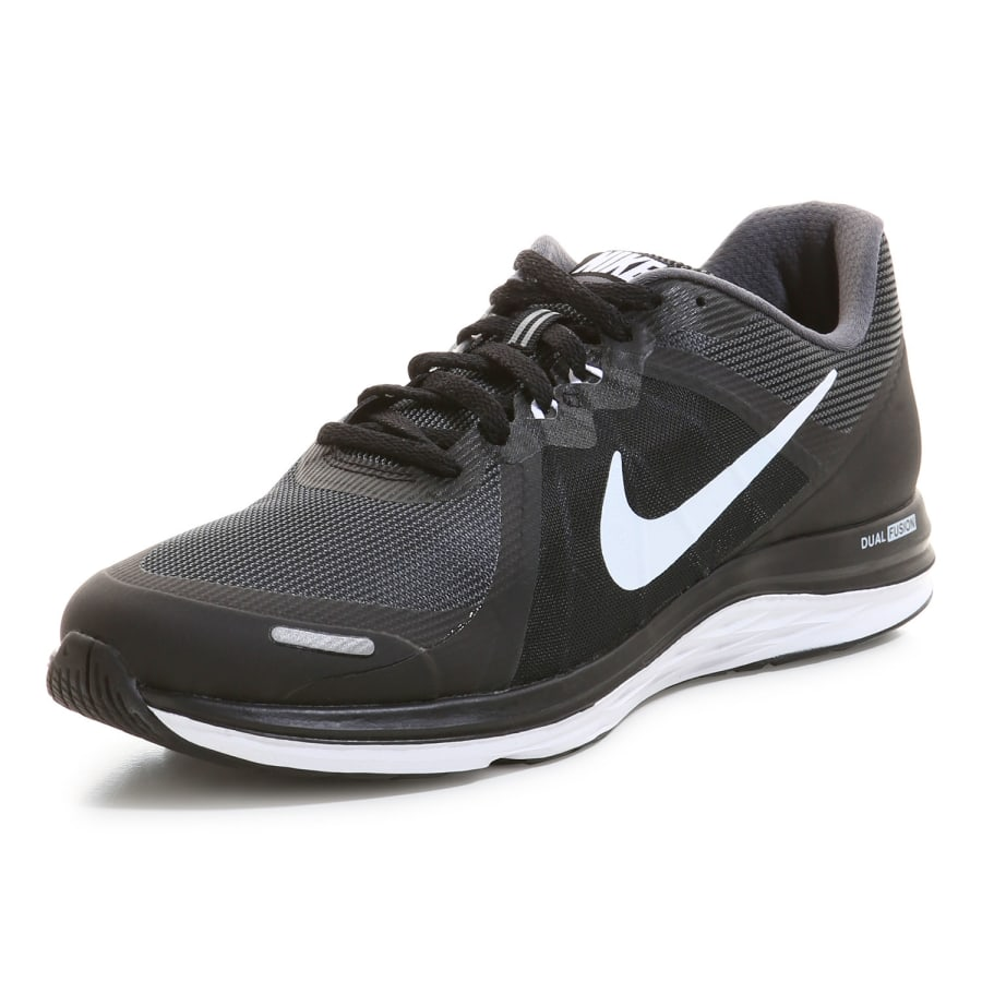 nike dual fusion x 2 running shoes men black grey. Black Bedroom Furniture Sets. Home Design Ideas