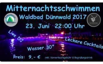 Mitternachtsschwimmen im Waldbad Dünnwald
