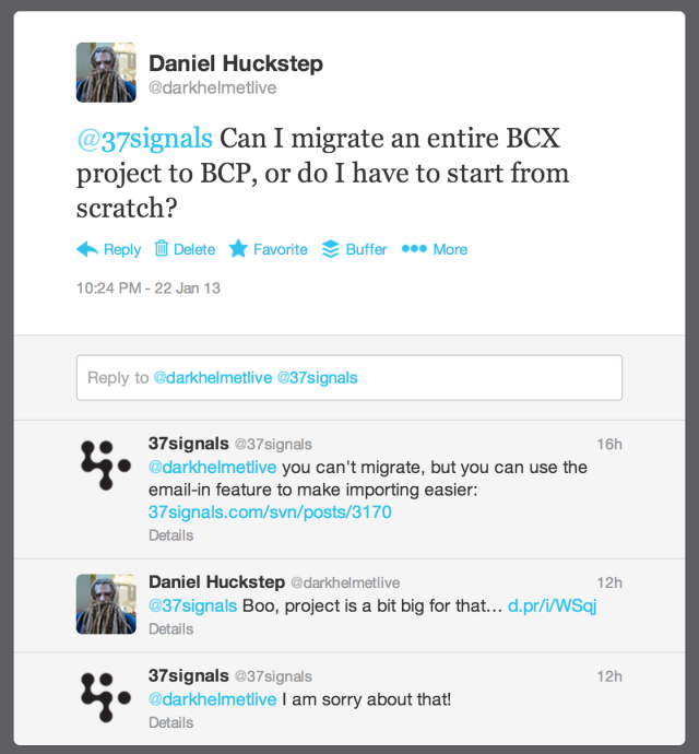 Twitter conversation with @37Signals about migrating a BCX project