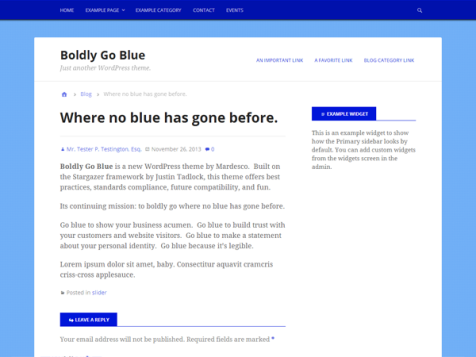 boldly go blue free wordpress theme
