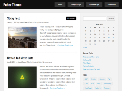 faber free clean wordpress theme for blogs
