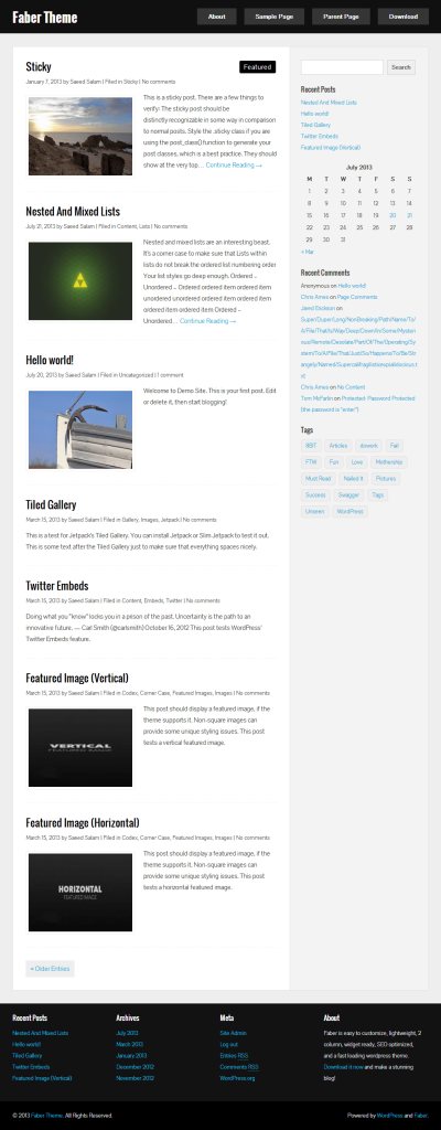 faber free wordpress theme