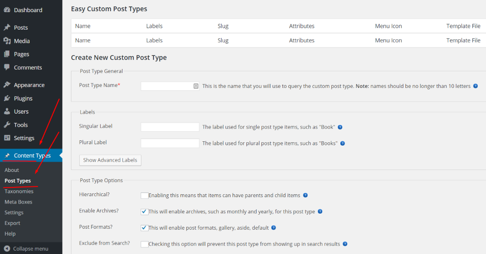 content types main panel