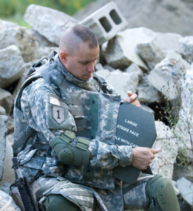 Soldier with sapi plates