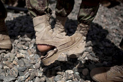 military boots damaged