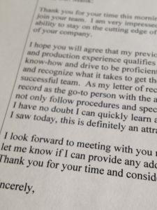 Job Interview Follow-up Letter