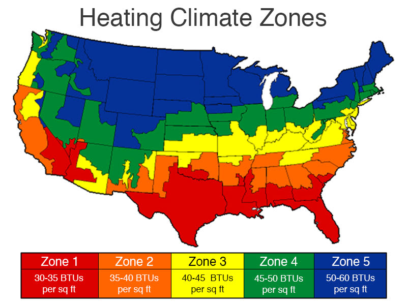 heating btu climate zones