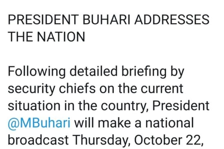 EndSARS: Buhari To Address Nigerians At 7pm