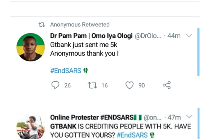 Breaking!! Anonymous Allegedly Hacks GTBank, Credits ₦5,000 To All Current Account Users (Photos)