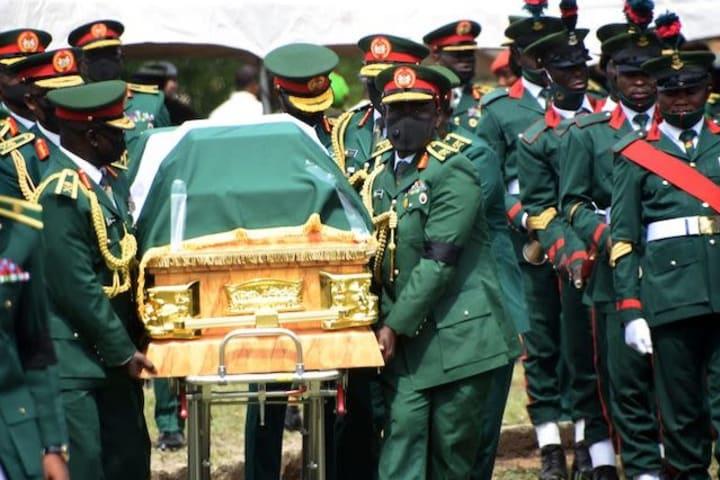 General Ahanotu weeps for Attahiru during funeral ceremony in Abuja