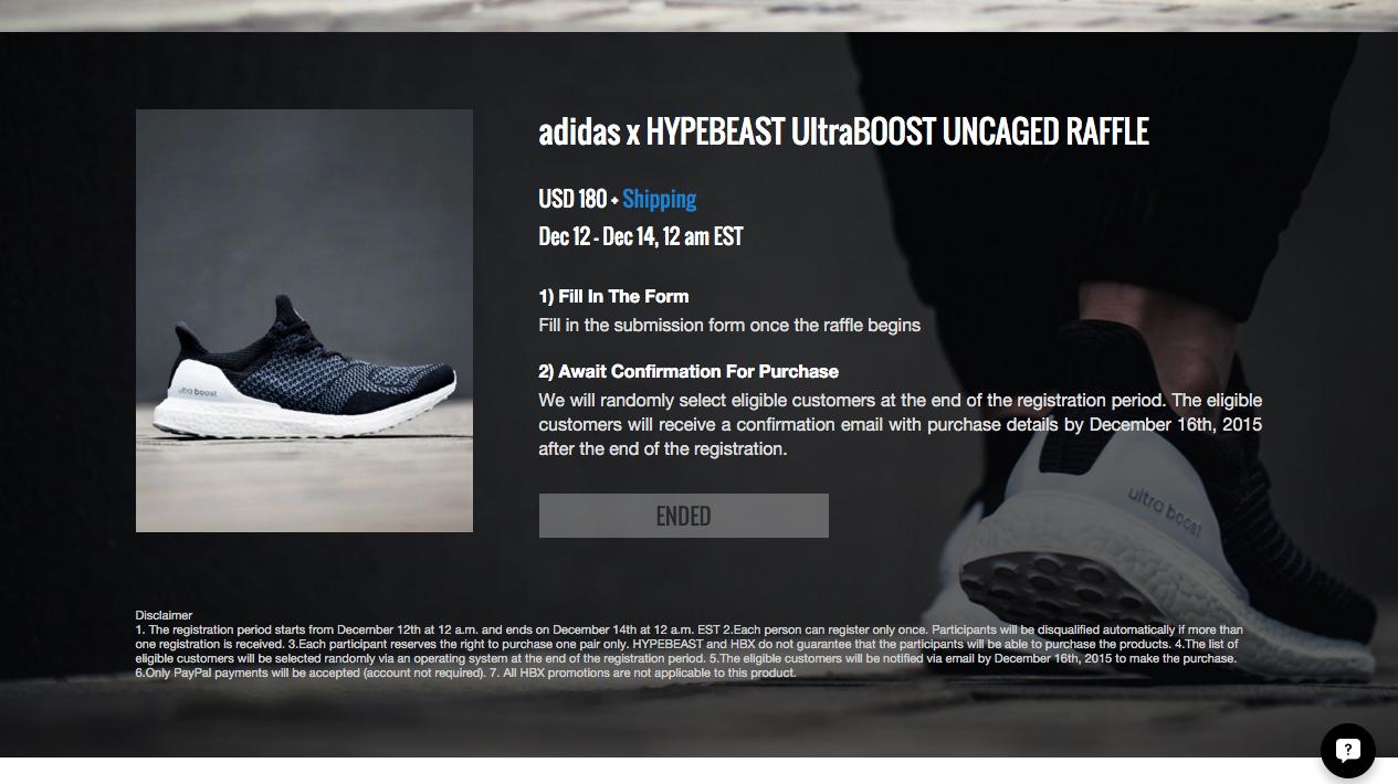 adidas x hypebeast ultraboost uncaged raffle