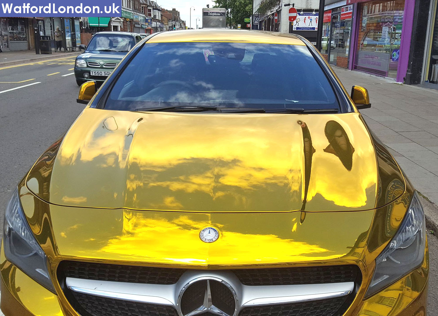 Chrome Gold Mercedes Benz Car Spotted in Watford