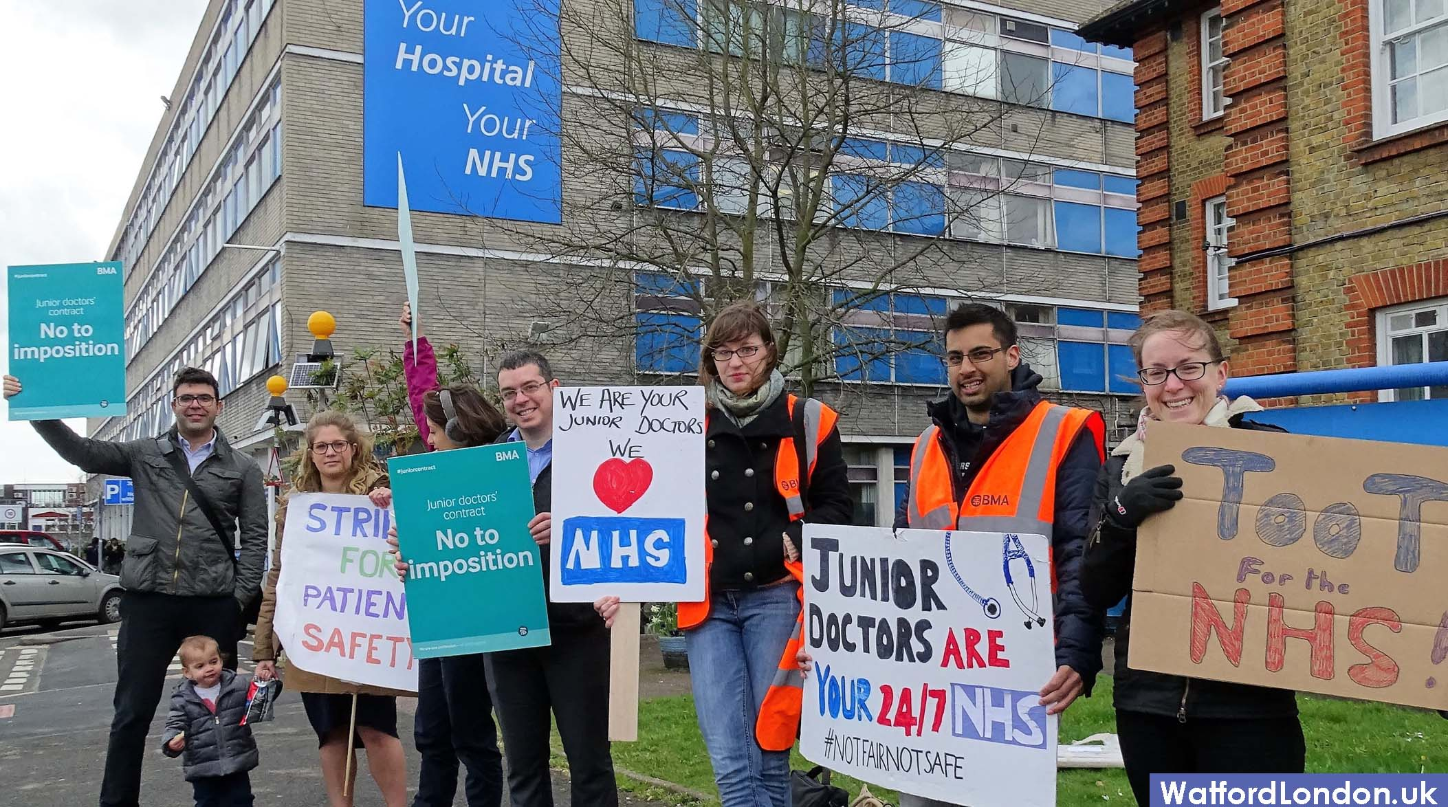 BMA Junior Doctors Strike in Watford Hertfordshire rejecting new contract 2016
