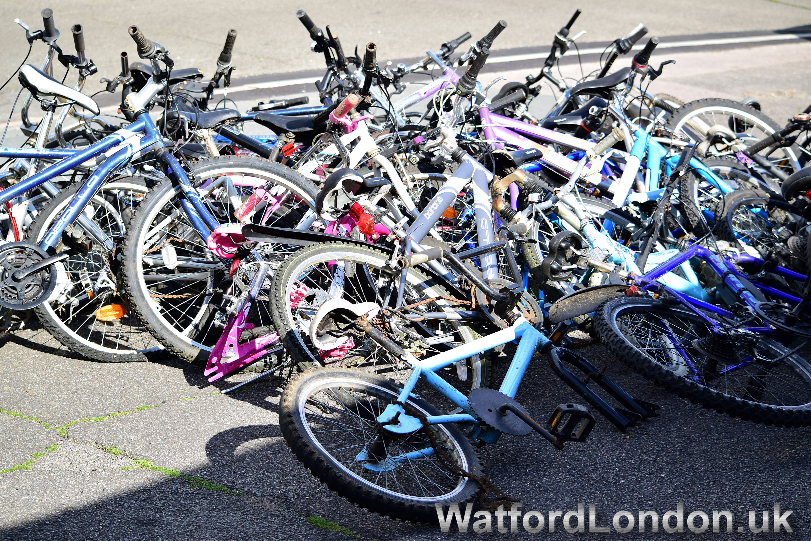 A Haul of Stolen Bycles recovered by Watford Police