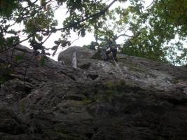 Climbing at Shepherds Crag, great weather today. Jo and Dee on the belay of Brown Slab.