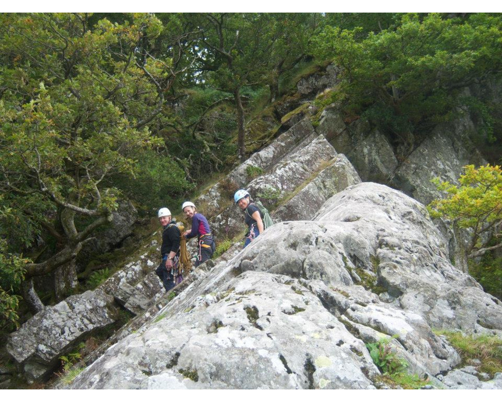 Jo, Dee and Tony, descending from Brown Slab