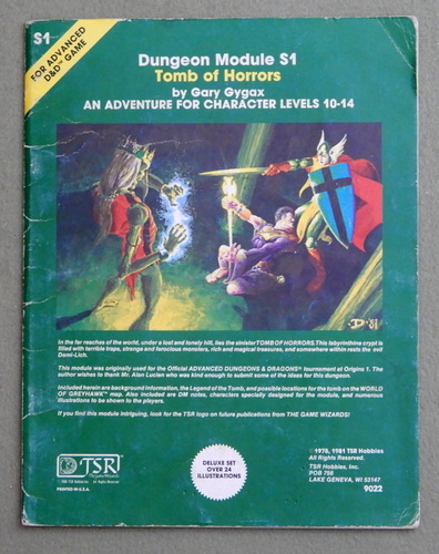 Tomb of Horrors (Advanced Dungeons & Dragons Module S1) - PLAY COPY, Gary Gygax