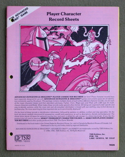 Player Character Record Sheets (Advanced Dungeons & Dragons)