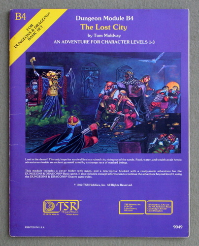 The Lost City (Dungeons and Dragons module B4), Tom Moldvay