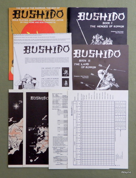 Bushido: Role Playing Adventure in Samurai Japan - SET; NO BOX, Paul Hume & Robert N. Charrette