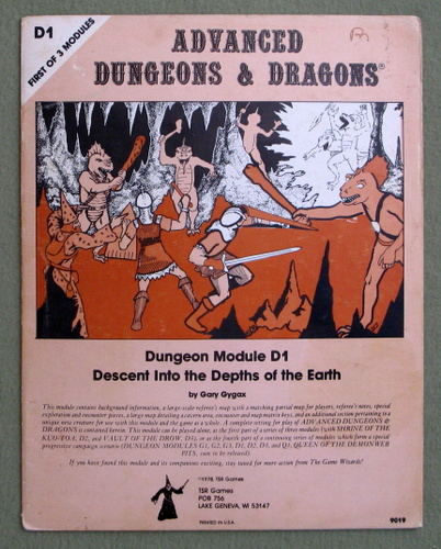 Descent Into the Depths of the Earth (Advanced Dungeons & Dragons Module D1), Gary Gygax