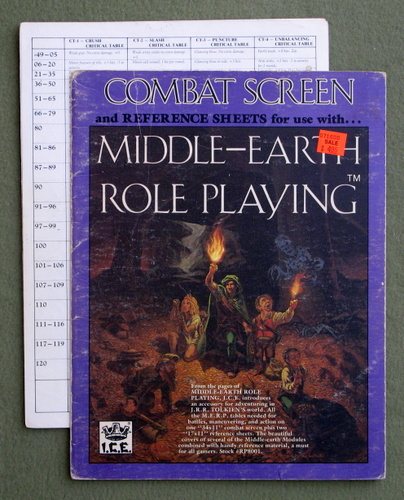 Combat Screen and Reference Sheets (MERP/Middle Earth Role Playing) - PLAY SET