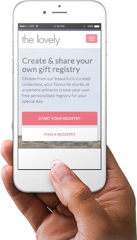 The Lovely Registry homepage on a mobile device