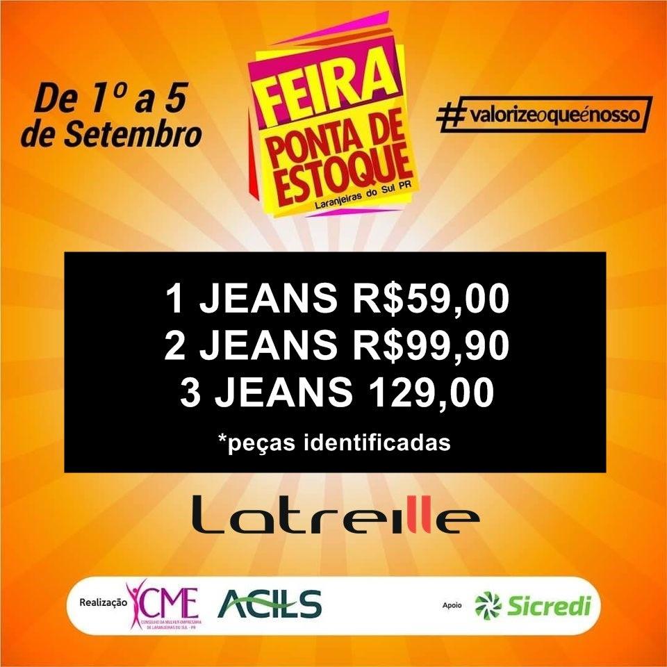 Feira Ponta de Estoque na Latreille Jeans Laranjeiras tá o maior sucesso