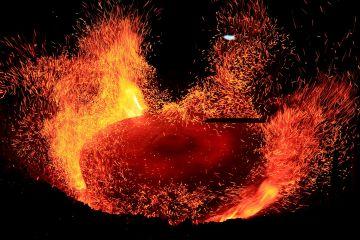 Gong yang sudah mulai terbentuk saat proses pembakaran dalam tungku api.