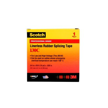 3M™ 130C-1X30FT Linerless Premium-grade Splicing Tape, 30 Ft L X 1 In W, 30 Mil Thk, Rubber, Rubber Resin Adhesive, Rubber Backing, Black