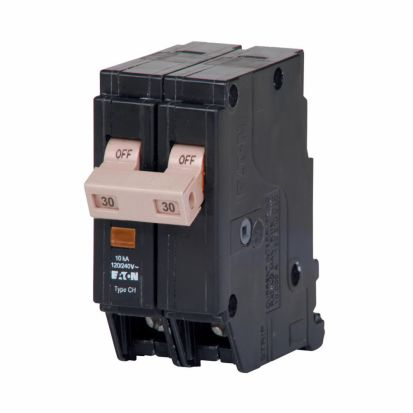Eaton CHF230 Type CHF Standard Circuit Breaker With Mechanical Trip Flag, 120/240 VAC, 30 A, 10 KA Interrupt, 2 Poles, Common/Thermal Magnetic Trip