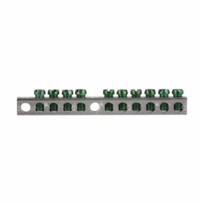Eaton GBK10 Ground Bar Kit, 4.288 In L, 14 To 10 AWG, 14 To 4 AWG Aluminum/Copper Conductor, 10 Terminals, For Use With Type CH/BR 3/4 In Loadcenter, 4/8 And 8/16 In Circuit Breaker